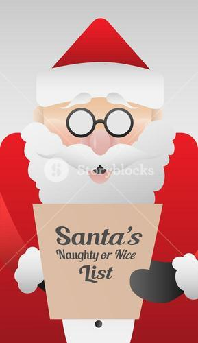 Cute santa claus with list vector