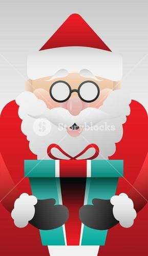 Cute santa claus with gift vector