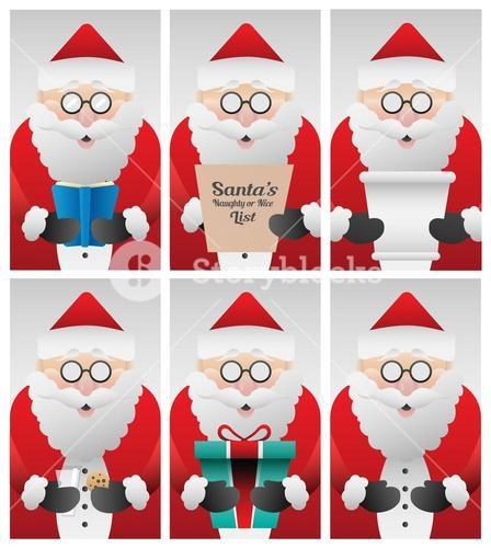 Cute santa claus doing different things vector