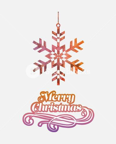 Merry christmas vector with snowflake