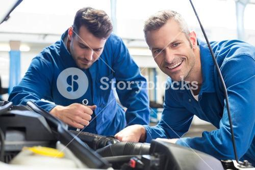 Team of mechanics working together