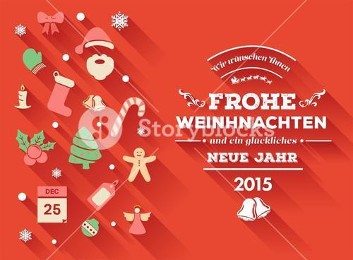 Frohe weihnachten message with christmas icons