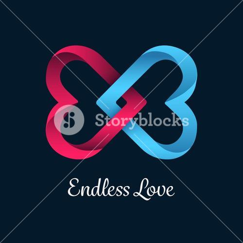 Endless love vector with linking hearts
