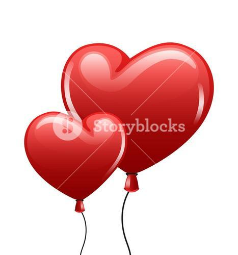 Red balloon heart on white