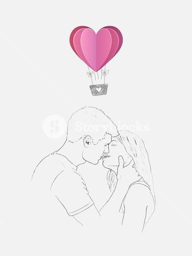 Sketch of kissing couple with heart hot air balloon