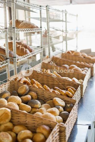 Baskets of freshly baked bread