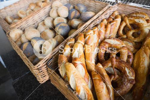 Basket filling with delicious bread and pretzel