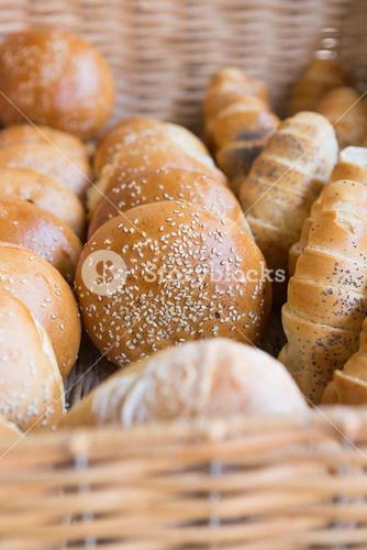 Close up of basket with breads
