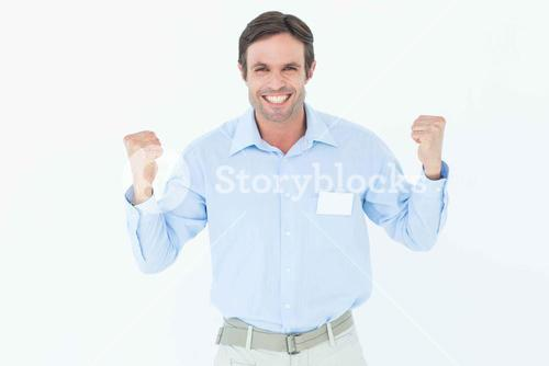 Happy businessman celebrating victory