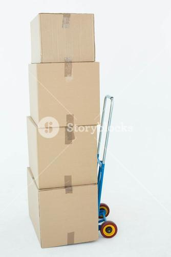 Cardboard boxes on trolley