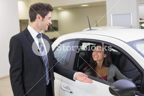 Businessman showing something to a woman