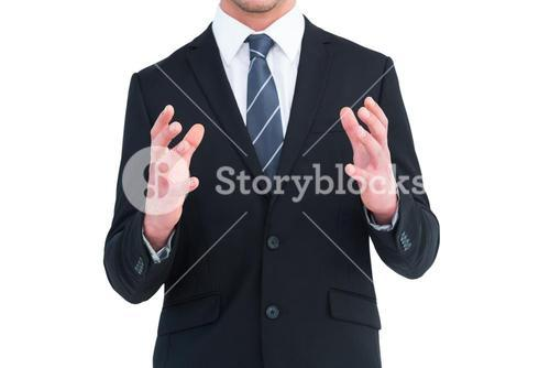 Businessman gesturing with his hands