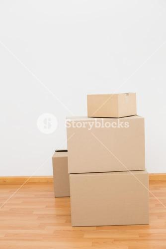 Pile of cardboard boxes on the floor