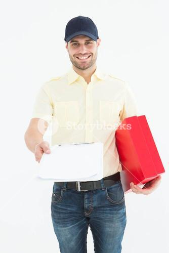 courier man with red box giving clipboard