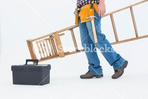 Low section of repairman carrying ladder