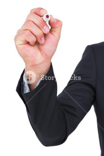 Businessman holding red felt