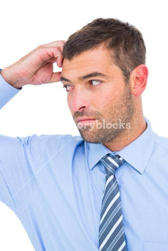 Businessman thinking his hand up
