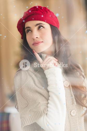 Composite image of portrait of a brunette in day dreaming