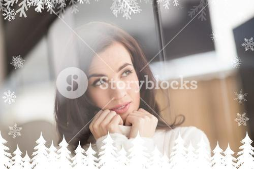Composite image of brunette in white wool jumper thinking