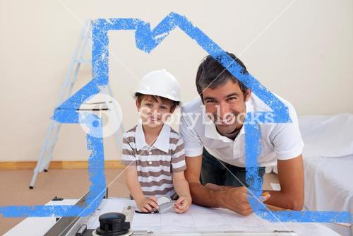 Composite image of smiling dad and little boy studying architecture