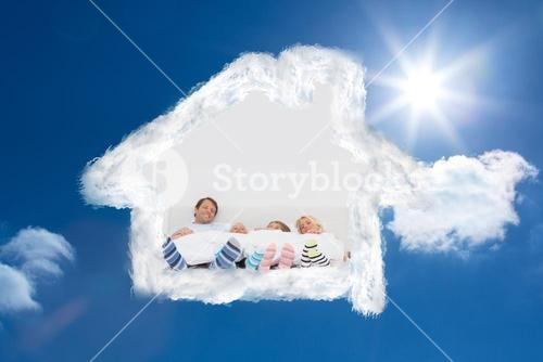 Composite image of family wearing stripey socks