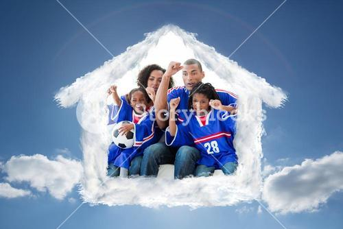Composite image of family celebrating a goal at home