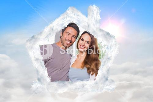 Composite image of parents in front of their family