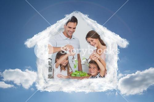 Composite image of family mixing a salad together