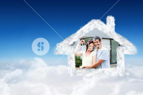 Composite image of happy couple after buying house