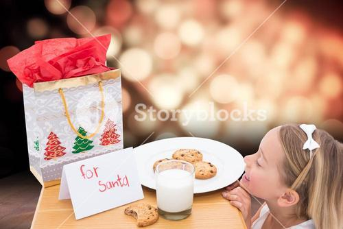 Composite image of milk and cookies left out for santa