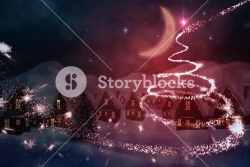 Composite image of cute christmas village at night