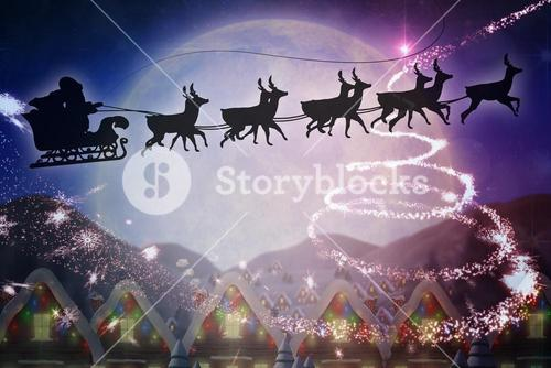 Composite image of silhouette of santa and reindeer