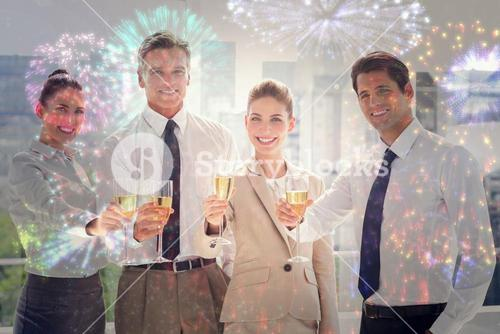 Composite image of smiling team of business people honoring a success with champagne