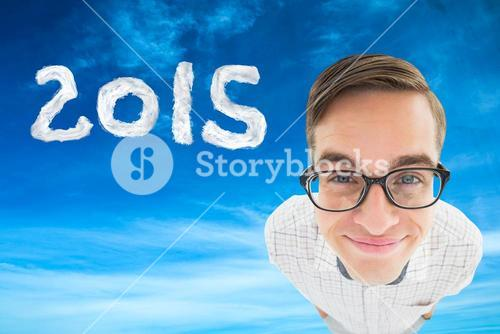 Composite image of geek smiling at camera
