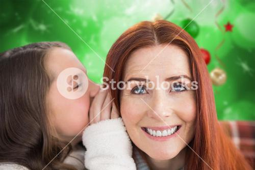 Composite image of mother and daughter telling secrets