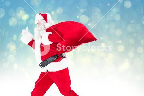 Composite image of positive santa with a sack and thumbs up