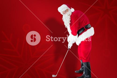 Composite image of happy santa claus playing golf