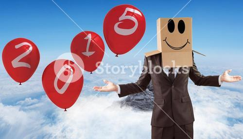 Composite image of anonymous businessman with hands out