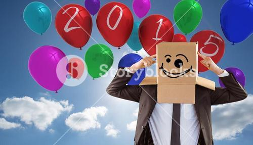 Composite image of anonymous businessman pointing to box