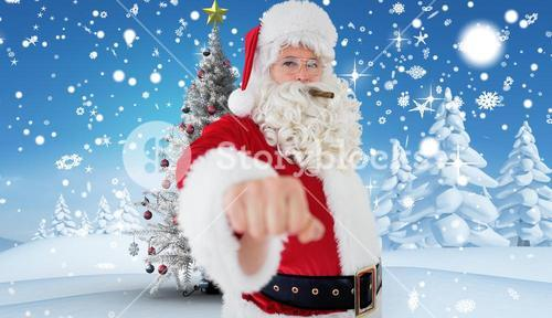 Composite image of portrait of santa with cigar