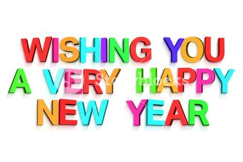 New year greeting in colourful letters