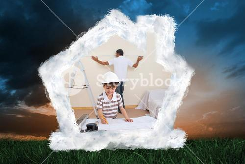 Composite image of father and son refurbishing home
