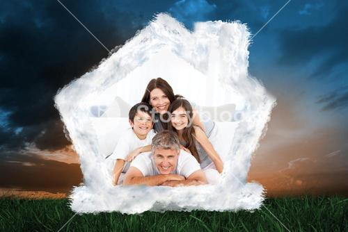 Composite image of happy familly looking at the camera