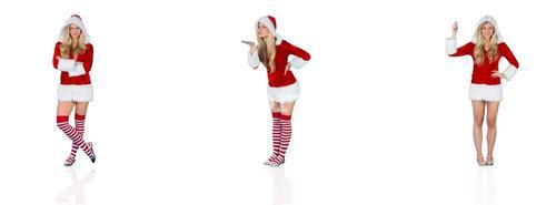 Composite image of pretty girl in santa outfit with arms crossed