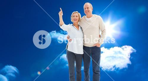 Composite image of happy mature couple walking together