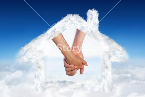 Composite image of loving young couple grasping hands
