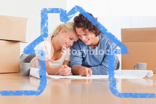 Composite image of happy couple organizing their new home