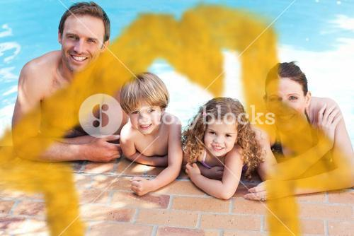 Composite image of happy family beside the swimming pool