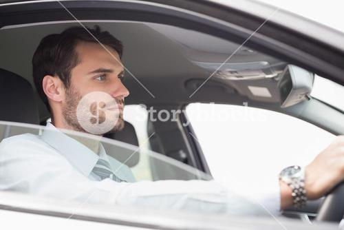 Young businessman in the drivers seat