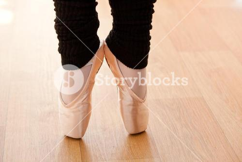 Close up of a talented ballerina on tiptoe